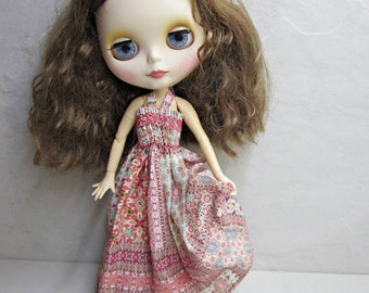 Long dress Blythe cotton with smock knit, Blythe cotton long dress with smock embroidery and pink patchwork, clothing, summer clothing