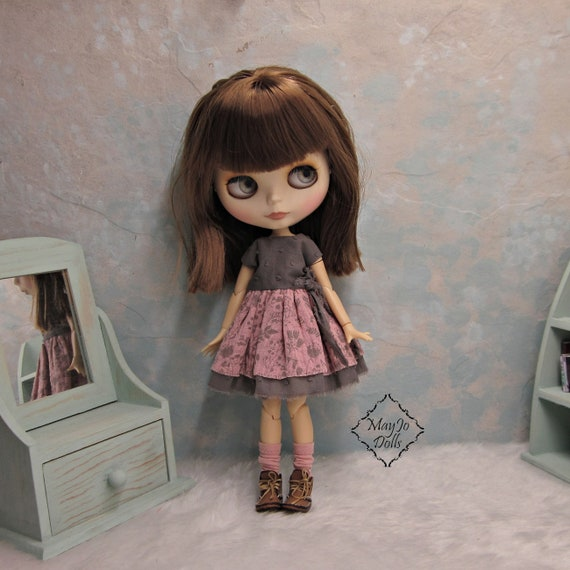 """98# Handmade 12/"""" Neo//Blythe//Licca Doll Sweater Gray Shabby Jeans Set//Suit PF"""