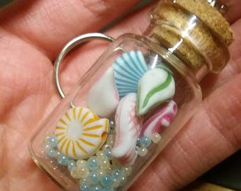 Ocean bottle keyring,marine keyring, sealife keyring, fish keyring, lucky keyring, seashell keychain, very cute, inexpensive, handmade
