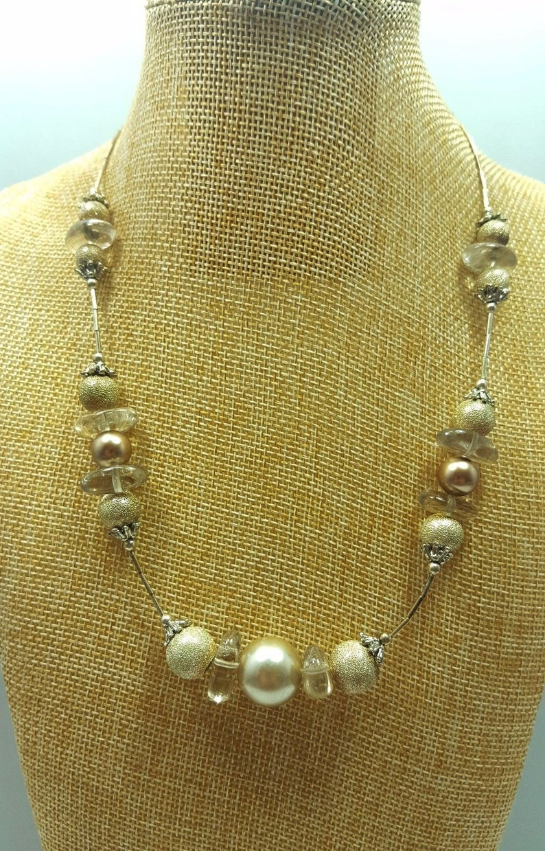 Vintage Faux Pearl and Sea Glass Necklace