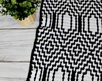 Thassos Mosaic Crochet Blanket instant download PDF pattern printable blanket throw baby blanket mosaic crochet photo tutorial US terms