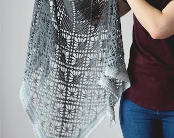 Crochet Leto Shawl instant download PDF pattern lace elegant shawl geometric lightweight wrap US terms