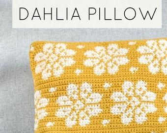 Crochet Dahlia Pillow, cushion PDF pattern, instant download, home decor, housewarming gift, square cushion