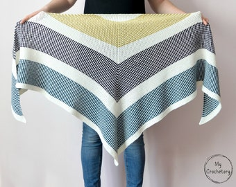 Crochet Triangle Moss Stitch Shawl instant download PDF PATTERN wearable garment triangle scarf top down shawl US terms