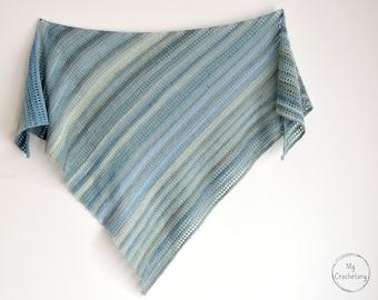 Crochet Aprilis Shawl instant download PDF PATTERN wearable garment triangle scarf asymmetrical shawl US terms