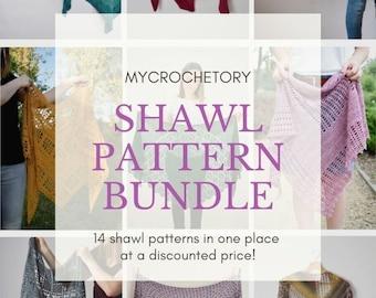MyCrochetory shawl pattern BUNDLE 14 crochet shawl patterns PDF patterns discount US terms