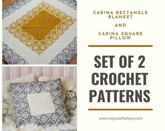 SET of 2 crochet patterns, Carina Rectangle Blanket, Carina Square Pillow, PDF patterns, instant download, home decor, discount, US terms