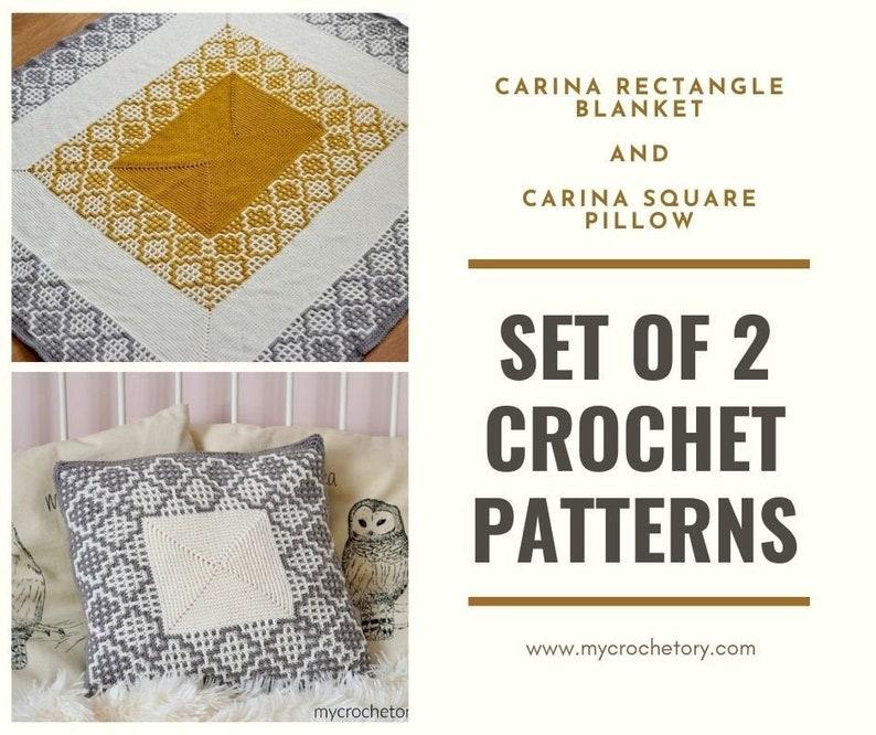 SET of 2 crochet patterns Carina Rectangle Blanket Carina image 0