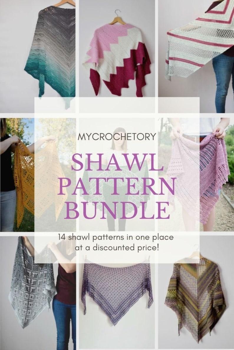 MyCrochetory shawl pattern BUNDLE 14 crochet shawl patterns image 0