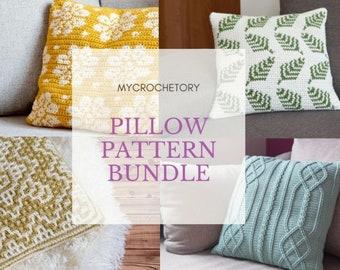 MyCrochetory Pillow Pattern BUNDLE 4 crochet patterns PDF discount Dahlia Pillow Fern Pillow Dioon Pillow Cable Diamon Pillow US terms