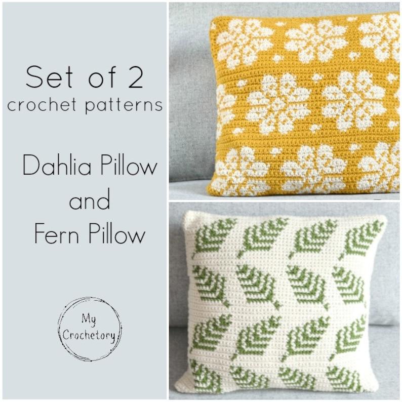 SET of 2 crochet patterns Dahlia Pillow Fern Pillow cushion image 0