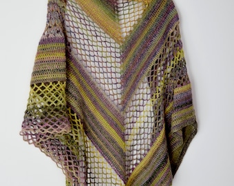 Crochet Flores Shawl instant download PDF pattern lace elegant shawl mesh stitch lightweight wrap US terms