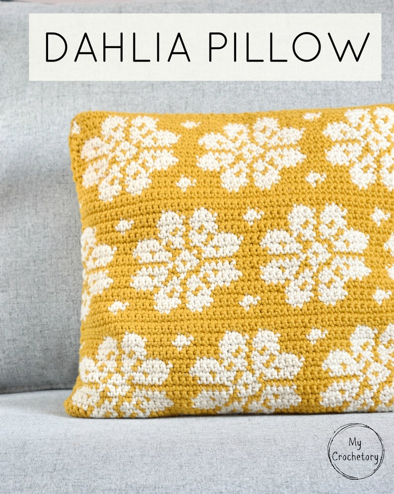 Crochet Dahlia Pillow cushion PDF pattern instant download image 1