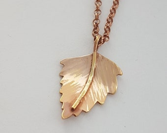 "Handmade sterling silver birch leaf necklace with 9ct rose gold vermeil on 18"" chain"