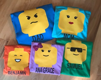 996f27c4 Personalized Lego head shirt family themepark lego birthday party