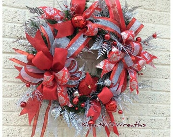red and silver christmas wreath christmas wreath for frontdoor silver and red christmas wreath winter wreath frontdoor christmas wreath