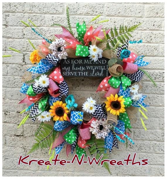 Couronne de porte d'entrée, couronne de printemps été, GrapevineWreath, couronne de printemps, couronne de fleurs, Decomesh Couronne, couronne de tous les jours, guirlande colorée