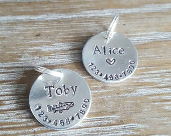 Personalized Cat Tags• handstamped cat tags• cat tag with phone number• small cat tag• pet id tag• small pet id tag• handmade cat tag