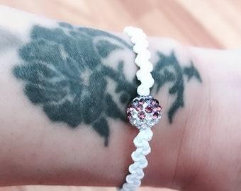 Shambala bracelet, Macrame braided bracelet, Women's bracelet, White bracelet, Woven bracelet, Surfer bracelet, Beach bracelet, Gift for her