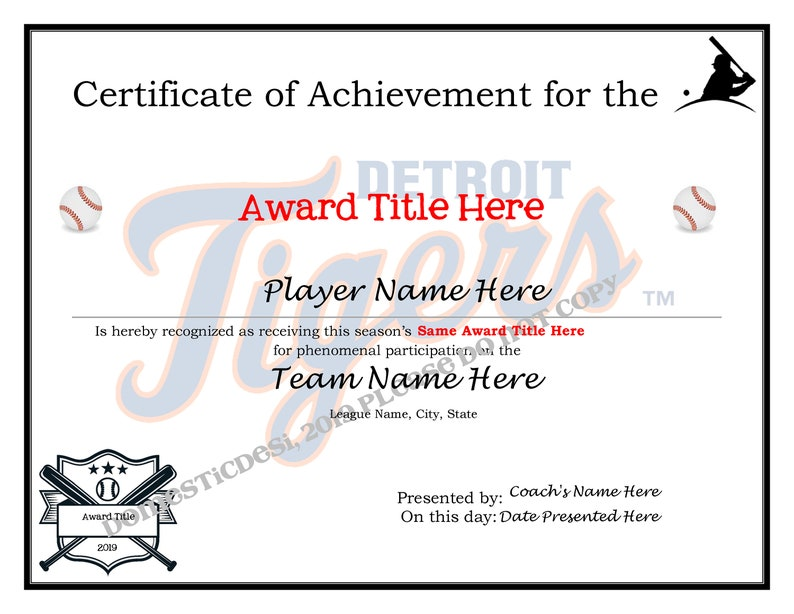 photograph relating to Detroit Tigers Printable Schedule identified as Editable Baseball Detroit Tigers Certificates - Electronic Obtain, Printable  2 models Generate Your Private Award Templates