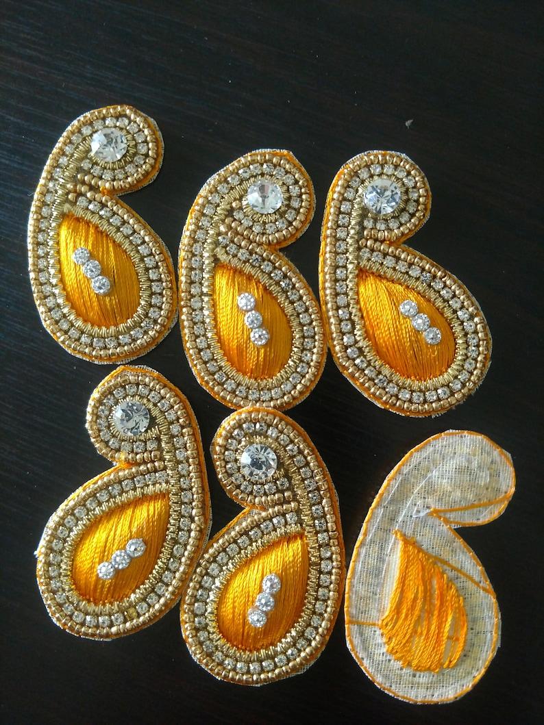 Set of 6 Patches, Appliques, Sari appliques, saree, Sari blouse patches,  jeweled patches, Indian decorative, boho, craft