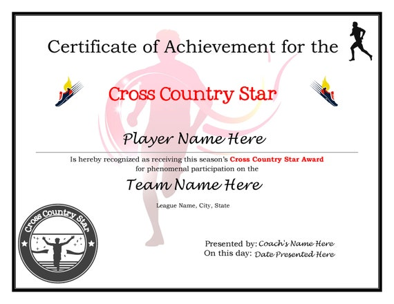 Editable Cross Country Running Certificates-Digital Downloadable Printable  & Create Your Own Award Template