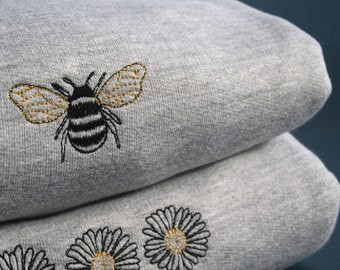 Embroidered Bee Sweatshirt, Eco Jumper, Work from home, Sustainable Loungewear, Embroidery, Bumblebee, Comfy, Nature Lover, Gift Ideas