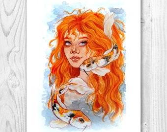 Coy Mermaid ART PRINT
