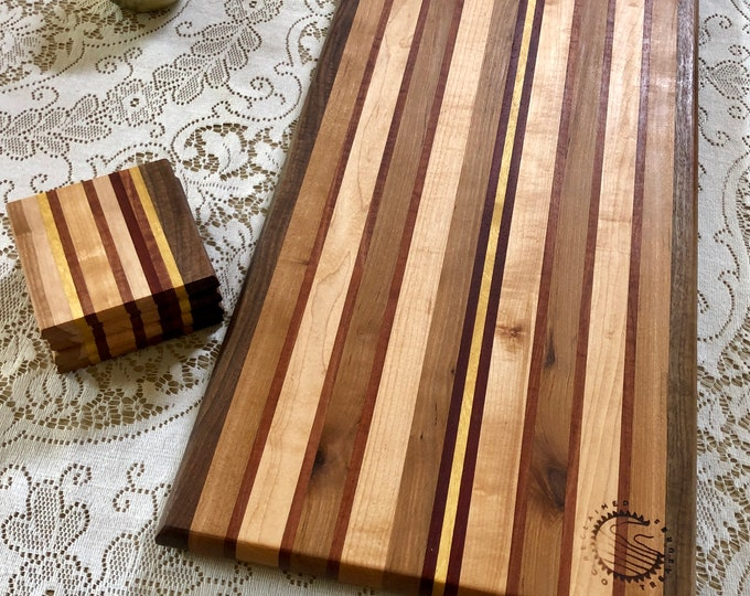 Reclaimed Wood Cutting Board and Matching Coasters