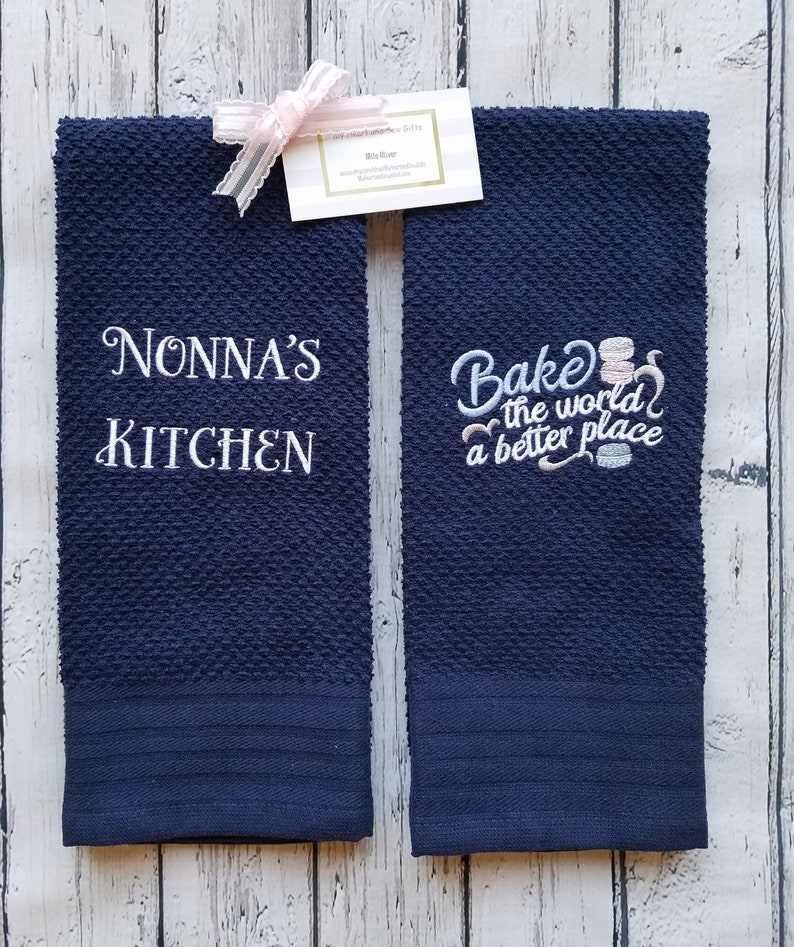 Blue Kitchen Towels Bake The World A Better Place