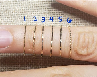 Thin 14k solid gold stacking rings in various styles. Real 14k gold NOT plated *sizes run slightly large*