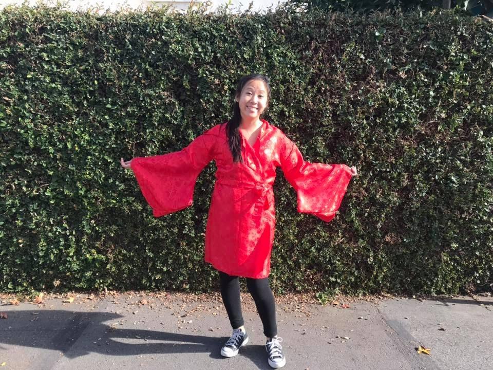 Rose rouge imprimé en Robe Kimono peignoir avec avec peignoir capuche et poches aux manches d4fdf1