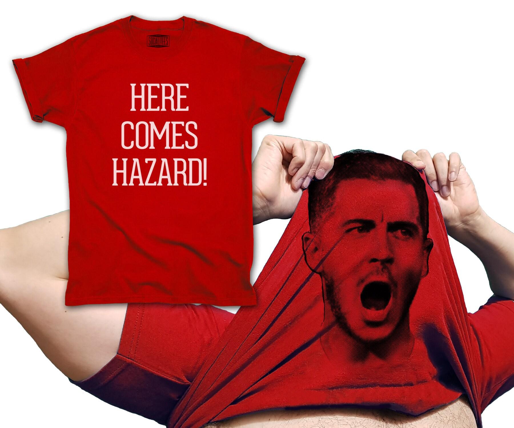 b0c8bce90 Eden Hazard T-shirt Flip Here Comes zainspirowany zagrożeniem   Etsy