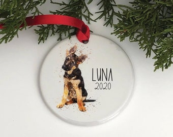 Custom Dog Ornament, Custom Dog Christmas Ornament, Dog Ornaments, German Shepherd Ornament, Dog Lover Gift,