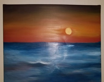 Brim. Waves and sunset oil painting