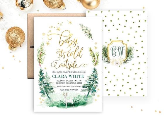 Printable DIY Card Cards Invite Invites Baby it/'s cold outside Boho Wreath Rustic Invitation Invitations Winter Baby Shower Invitation
