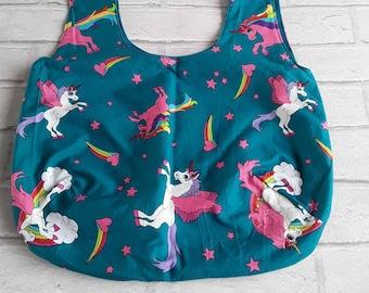 Unicorn tote shopping bag with reversible teal inner. Hobo bag, reusable grocery bag, shoulder bag, market bag