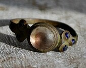 Nordic Authentic Ring with Stones, Ancient Medieval Ring, Size 11, 18th Century Pagan Ring