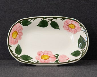 Antique Vitrified hotelware made in England. 1890s Victorian era John Maddock /& Sons Wild Rose blue-and-white oval sandwich platter