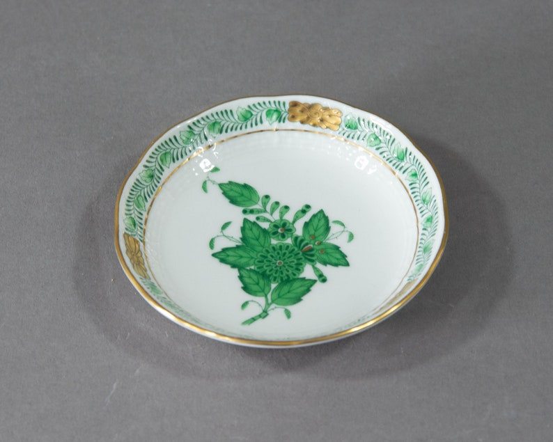 Butter Pat Apponyi  Chinese Bouquet Green Herend Hungary