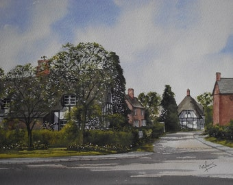Original Watercolour Painting of Springtime in Bishampton a Worcestershire Village in England