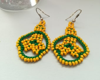 Yellow and green tatted earrings