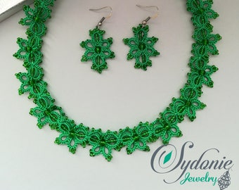 Green tatted necklace and earrings