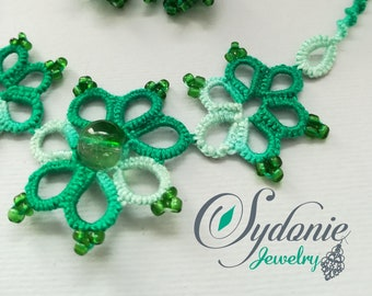 Variegated green tatted necklace and earrings