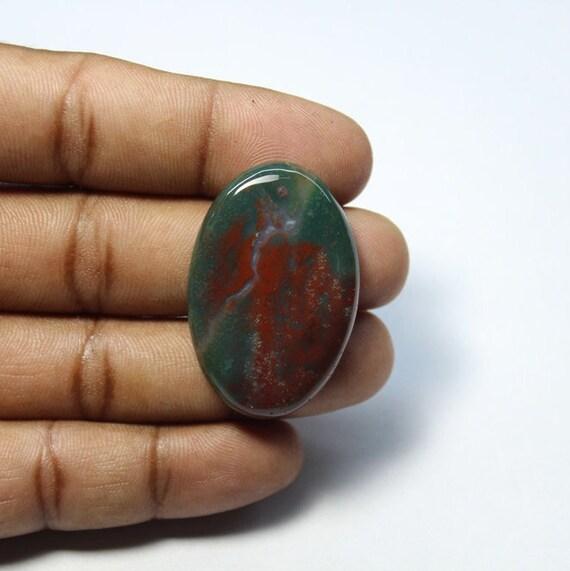 Sang de Pierre 100 % naturelle qualité supérieure prix bas cadeau Cabochon à la main en pierre en pierre de sang Pierre 46 Ct 38 X 26 mm #1043