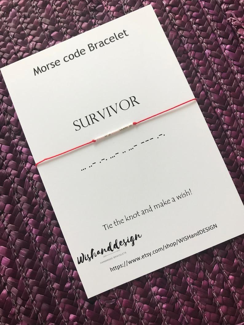 Traveler gift Survivor bracelet Morse code jewelry Awareness bracelet SURVIVOR Morse Code Bracelet Gift for survivor