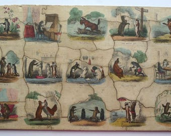 Early 1840 Hand Coloured Jig Saw Puzzle.
