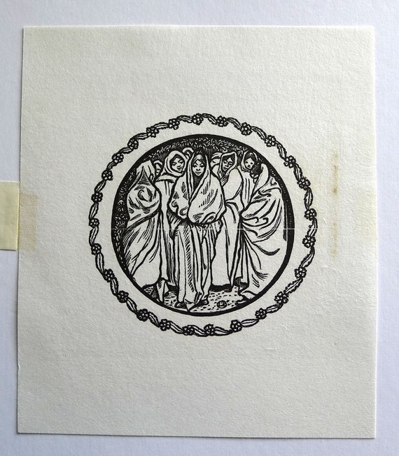 Shenval Press Book of RuthEsther 3X2.5ins. 1950 LUCIEN PISSARRO Woodcut from Original Block Loaned by the Artist/'s Widow