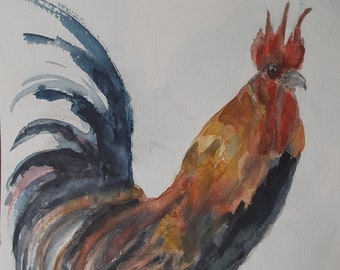 Rooster painting, watercolor, animal art