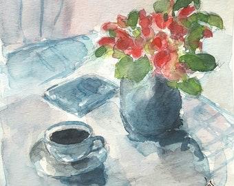 Coffee break. Signed original watercolor Hypeos